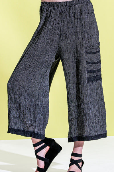 Khangura straight panel pants with patch pocket in black and white Best Quality linen by Shop Khangura. Designer Capri Pants. Comfy Palazzo Pants USA-Made.