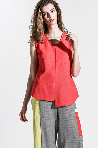 Khangura Cotton Linen Red Tank Top. Khangura Online Boutique Offers Elegant and Classy Clothing in Natural Fibers Sustainable Fabrics. V-Neck, Sleeve-Less Womens Clothing Top USA. Washable Comfy Tank Top USA-Made.