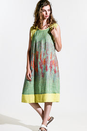 Khangura Art to Wear Unique Dress in Apple Green and Bright Yellow Colorful Dress in High-End Natural Fiber Linen Blend. Elegant Contemporary Dress Made in the USA.
