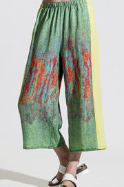 Khangura Artful Capri pants with pockets. One of A Kind Comfy Palazzo Pants made in the USA by Shop Khangura Online Boutique.  High-End Linen Crop Pants in Colorful woven print in best quality linen.