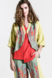 Khangura Artful Crop Jacket in Green and Yellow High-End Linen. Comfy Natural Fiber Colorful Short Jacket. Funky yet Elegant Summer Jacket Made in USA