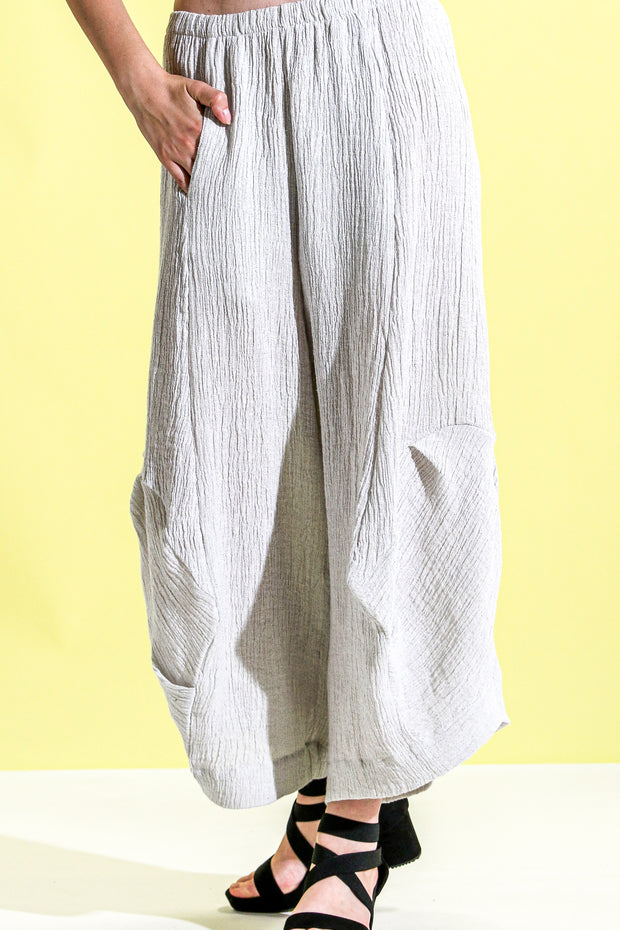 Khangura Art To Wear Comfy Pants USA-Made by Khangura Online Fashion Boutique. Unique White Cream Crinkled High-End Natural Fiber Linen Pants by Shop Khangura Designer Clothing.