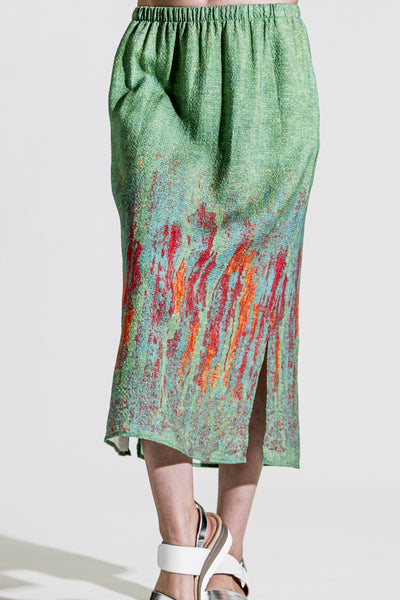 Khangura Art to Wear Long Skirt in Apple Green and Bright Yellow Colorful Skirt in High-End Linen Blend. Elegant Contemporary Skirt Made in the USA.