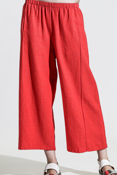 Khangura Red Cotton and Linen Blend Pants. Preshrunk Natural Fiber Best Quality Basic Capri Pants by Our online Womens Clothing Store, Shop Khangura.