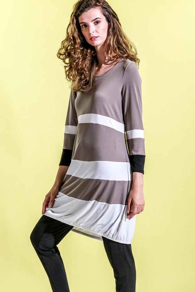 Khangura Luxurious Jersey Knit Dress in Porcini and Creme. Funky yet Elegant Dress. Long Sleeve Short Dress. Cute Dress Made in the USA.