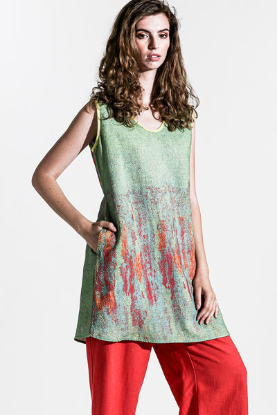 Khangura Tank top Paint brush effect woven print in Lime Green High-End Linen. Designer Sleeve-less Long Top Made in the USA