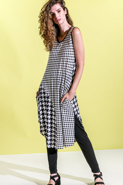 Khangura Stylish Houndstooth Dress in Super Comfy Luxurious Jersey Knit Made in the USA. Black and White Sleeveless Long Dress. Contemporary Cute Stylish Dress.