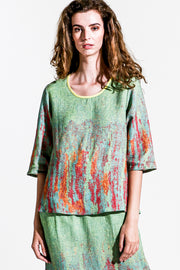 Khangura Art Print Top in Lime Green Colors. Womens Clothing Top Made in USA. Elegant High-End Linen Blend Short Sleeve Blouse.