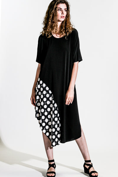 Khangura Black Dress with Polka Accent in Luxurious Jersey Knit. Comfy Dress USA-Made. Unique Trendy Style Black White Short Sleeve Dress.