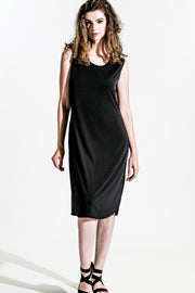 Khangura Ultra Soft Jersey Comfy Black dress. Basic Sleeveless Long Dress. Washable Easy-Care Little Black Dress Made in USA.