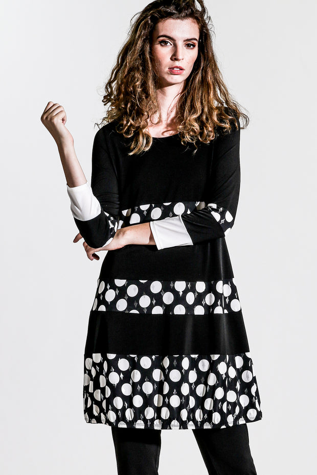 Khangura Luxurious Jersey Knit Dress. Black Little Dress for any occasion. Polka dots bands stunning Black and White Dress. Long Sleeve Pretty Little Dress. Super Soft Jersey Dress Made in USA.
