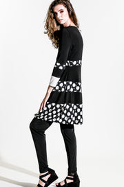 Tiered Dress - blk-creme polka