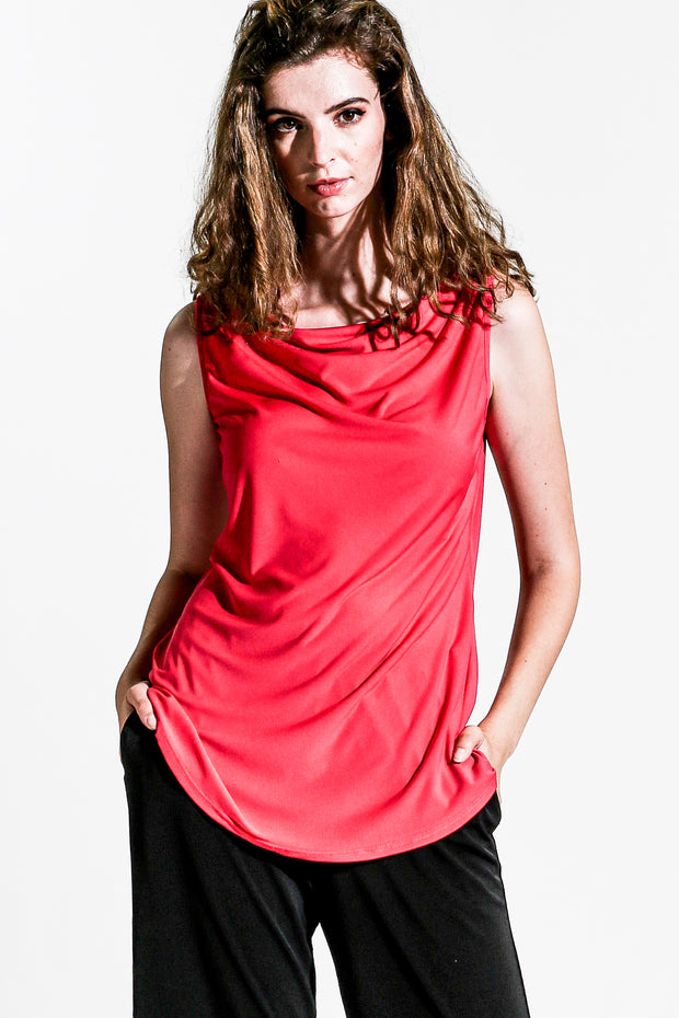 luxury wear for ladies. best tank top for summer. fashionable top for ladies of all ages and shapes. Red Shade Soft Jersey Sleeve-less Designer Comfy Tank Top.