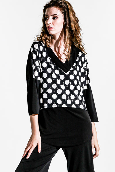 Khangura black white polka dot V-Neck dolman sleeve comfy top USA-made. Super soft jersey knit fashion top. Cute top for all seasons. Black artful top.