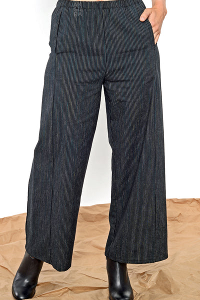 Khangura straight panel pants in black pinstripes by Shop Khangura Made in USA. Stylish Natural Fiber Pull-On Pants with side pockets. Artistic Pants USA-Made.