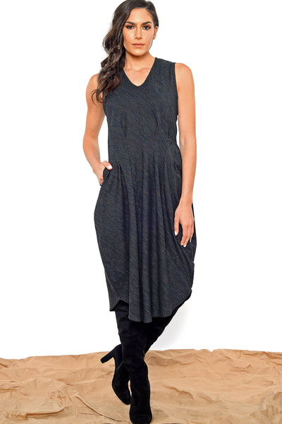 Khangura edgy yet elegant black dress. Multi Color Pinstripes on Black Natural Fiber Comfy Designer Dress by Khangura. Artistic Pleated Sleeve-less Dress for All Ages and Shapes.