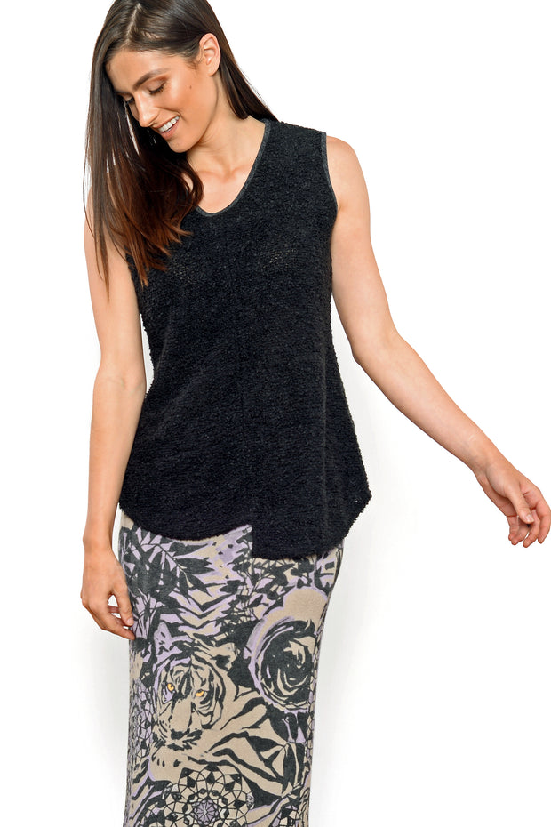 Khangura Boucle Tank top in black with a V-neck comfy tank top made in USA. Offered by Khangura, a brand of elegant womens clothing made in USA. Black Designer Tank Top. High-End Black Comfy Boucle Sleeve-less Top.
