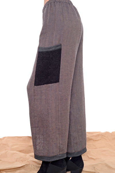 Khangura straight panel pants with patch pocket in black and brown High-Quality Preshrunk linen by Shop Khangura. Stylish Classy Capri Pants. Pull-on Comfy Palazzo Pants USA-Made.