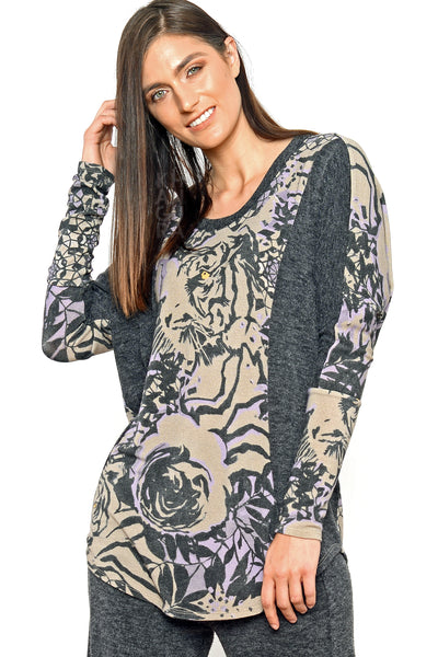 Khangura luxurious wild pattern top by Shop Khangura. Funky yet classic boutique style womens clothing top. Artful yet comfy clothing made in USA.