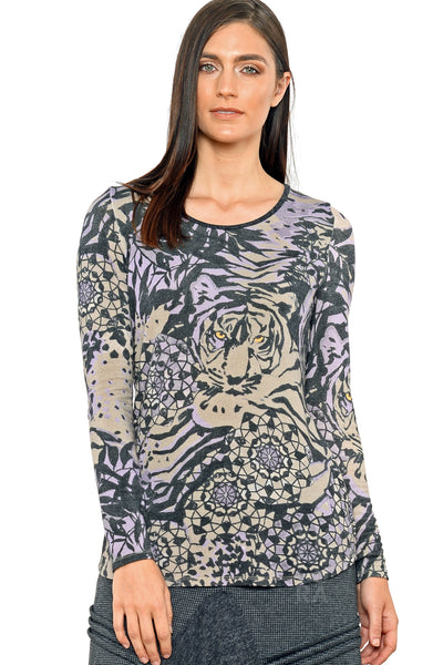 Khangura Safari Long-Sleeved Tee. Good quality, High end fashion. Made in the USA.  comfy womens top by Shop Khangura. Fall 2020 Fashion. Khangura Tiger Print Comfy Blouse USA-Made.