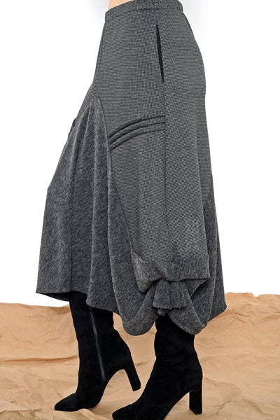 Khangura Unique Grey waterfall skirt. Designer skirt by Khangura is made in USA. Luxurious jersey knit and Luxe Tweed.