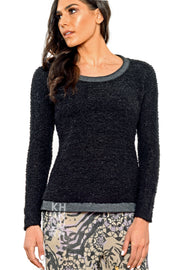 Khangura Black Bouclé Long-Sleeved Tee. Good quality Sweater. High end fashion. Made in the USA.  Unique top by ShopKhangura. Fall 2020 Fashion