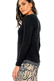 Bouclé Sweater Tee Top - nero