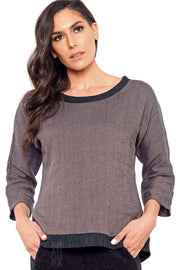 Khangura Assisi High-End Washed Linen Sophisticated Elegant Top. Unique top by Shop Khangura Fall 2020 Clothing Collections for Womens USA Made. High-Quality Preshrunk Fashion Top