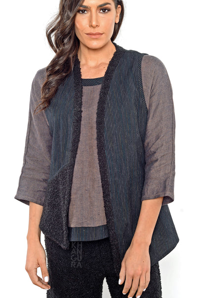 Khangura black asymmetrical vest by Shop Khangura. Natural fiber clothing.  Artful and comfy womens clothing jacket made in USA. Art to Wear Vest for Womens of All Ages and Sizes.