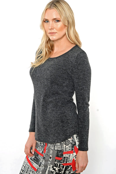 Khangura Charcoal Ultra Soft Jersey Knit Long-Sleeved Tee. Good quality, High end fashion. Made in the USA.  Comfy womens top by Shop Khangura. Fall 2020 Fashion
