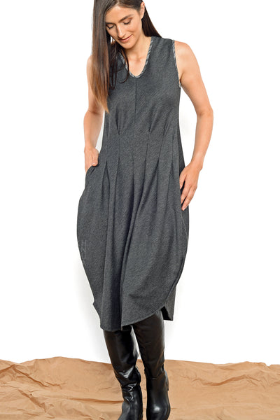 Khangura Elegant Pleated Dress. Designer Dress by Khangura. Comfy V-neck sleeve-less Dress Made In USA. Modern Yet Sophisticated Art to Wear Womens Clothing Dress.