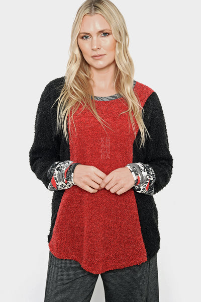 Khangura Red and Black Bouclé Tunic Top by Shop Khangura. Funky yet classic boutique style high-end womens Top. One of A kind, Artful and comfy top made in USA. Colorful Red and Black Long Sleeve Tunic Top for Womens of All Ages and Shapes from XS to 3X.