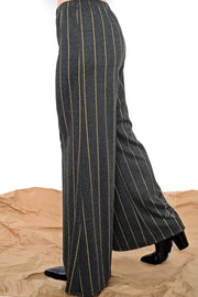 Khangura Long Striped Pants.  Long Flaired Palazzo Pants made in the USA. Long Stretch Pants. Full length Bell bottom Pants.