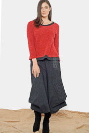 Bouclé Sweater Tee Top - rouge