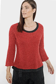 Khangura Red Bouclé Long-Sleeved Sweater Tee. Good quality Sweater for Fall Winter. High-End Fashion Made in the USA. Unique Top by Shop Khangura. Fall 2020 Fashions. 3/4 Sleeve Rouge Color Fluffy Sweater Top.