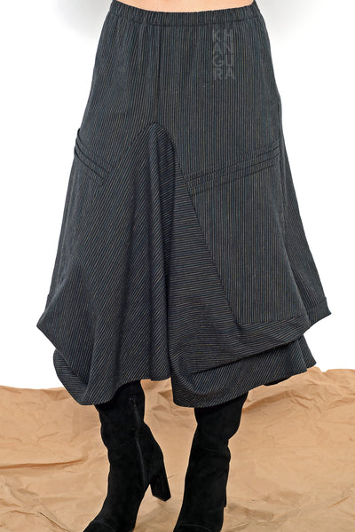 Khangura Unique Black waterfall skirt in Pinstripe Stretch Cotton. Designer Long skirt by Khangura is made in USA. Pull-On Artsy Full Skirt. Full Swing Skirt in High-Quality pinstripe pattern. USA-Made.