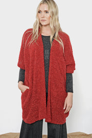 Khangura Red Bouclé Wrap Jacket by Shop Khangura. Comfy Clothing. Elegant Red Jacket. Made in the USA.
