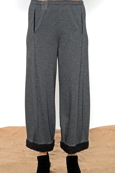 Khangura Houndstooth Tweed Lantern Gray Pants by Shop Khangura. Made in the USA comfy pull-on pants. Fashion palazzo pants. Pleated hemline with boucle cuff and slimming pockets.