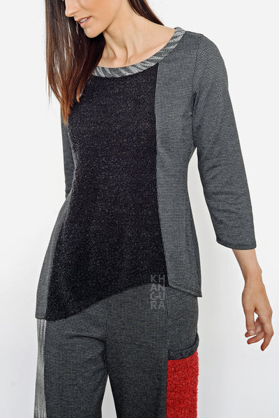 Khangura Long-Sleeved Charcoal Black Top in Tweed and Boucle. Good quality Sweater. High End Fashion. Made in the USA.  Unique Top by Shop Khangura. Fall Winter 2020 Fashion Tunic Top.