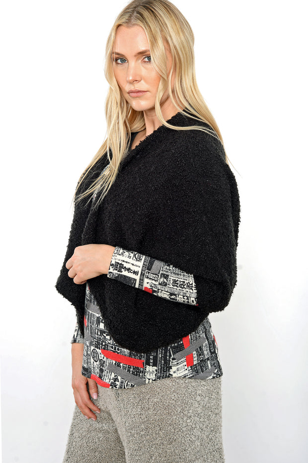 Khangura Black Bouclé Shrug Jacket by Shop Khangura. Comfy One Size Short Jacket. Elegant Black Jacket Made in the USA.
