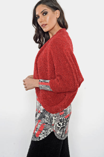 Khangura Red Bouclé Shrug Jacket by Shop Khangura. Elegant Crop Jacket. Artistic Cover-Up Short Open Jacket. High-End Cardigan jacket Made in the USA.