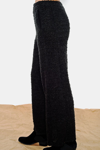 High-End Black Boucle Pull-On Comfy Pants USA-Made. Long Black Fashion Pants by Khangura.
