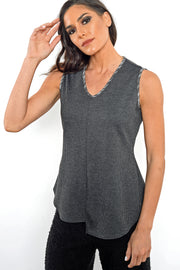 Khangura Houndstooth Tweed Tank Top in Gray with a trimmed V-neck. Comfy tank top made in USA. Offered by Khangura, a brand of Unique clothing made in USA
