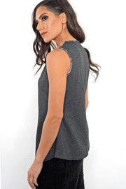 Asymmetric Tank Top - houndstooth