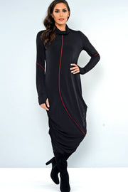 Khangura One of A kind unique Long Black Dress with Red Stripes. Long Sleeve with thumb holes and cowl neck design made in the USA. Black High Fashion Designer Dress.