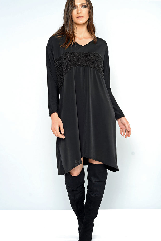 Khangura Online Women's Clothing Store Offers This Comfy Dress Tunic. Made In USA. Elegant Tunic. Beautiful Black Dress Fit for Any Occasion.
