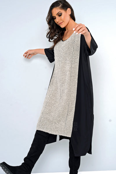 Khangura One Size Long and Comfy Dress USA-Made. 2/3 Sleeve Loose Fitting Dress. Black and White Long Dress. One of A kind Unique Dress by Khangura.