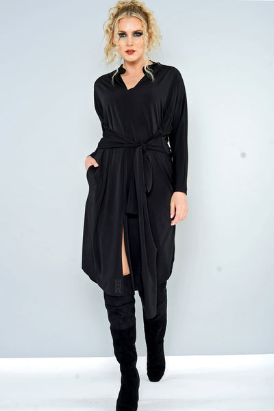 Khangura Fashion Tie Tunic Black Dress Edgy Yet Elegant Black Dress. Designer Clothing by Khangura. Comfy Clothing Made In USA. Modern Yet Sophisticated Art to Wear Women's Clothing Dress.