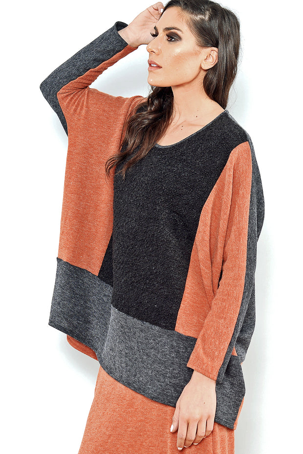Art to wear big tunic top by Khangura. Sophisticated colorful fall-winter 2020 tunic top. Comfy Designer Blouse USA-Made. rust and black high-end big shirt. soft cashmere-like high-quality jersey top for women of all ages.