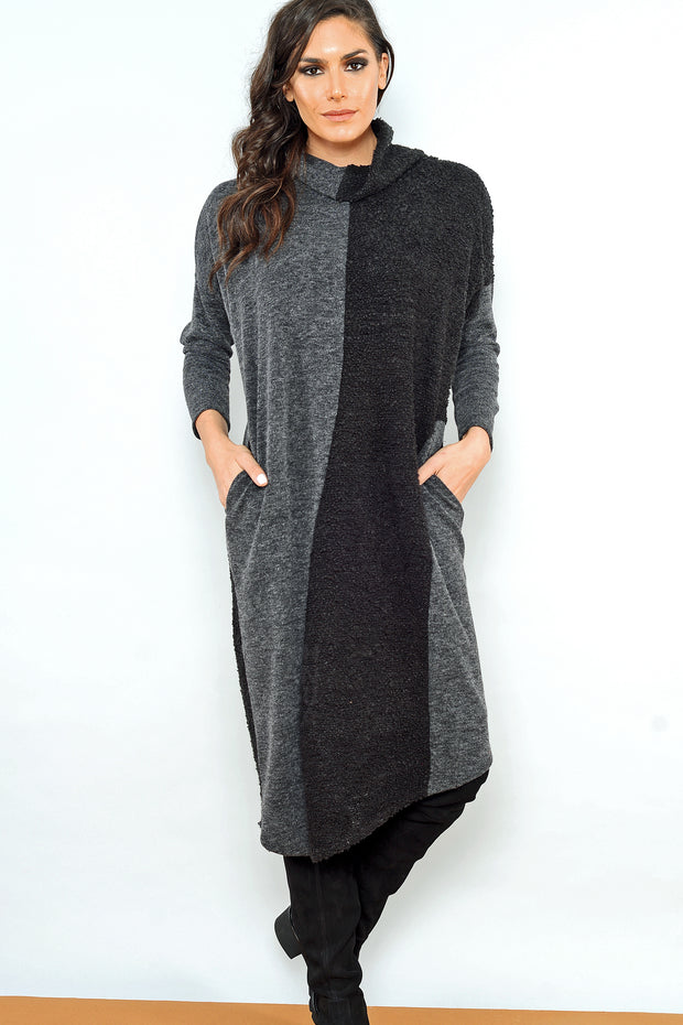Wave Suave Dress - charcoal nero